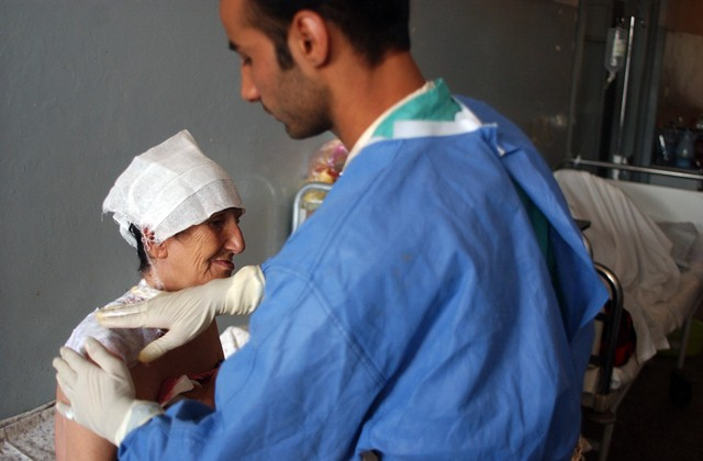 A self-immolation patient being treated at a hospital in Herat. Photo: Fraidoon Poya / UNAMA