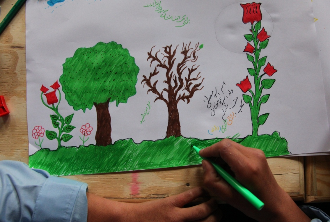 Afghan school-children express their imagination of the earth in the form of painting, calling for a collective responsibility to promote harmony with nature and the planet, in the capital, Kabul. Photo: Fardin Waezi / UNAMA