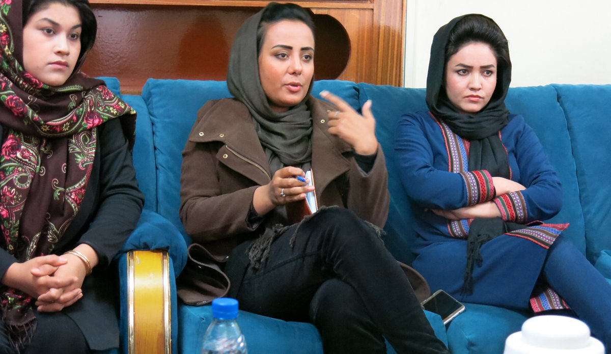 Afghan women reporters at work