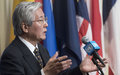 Media stakeout following SRSG Tadamichi Yamamoto's briefing to the Security Council